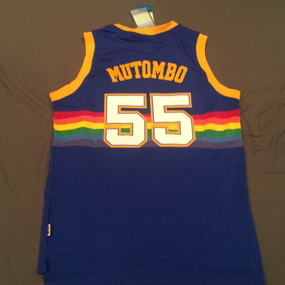 wholesale dealer 39039 f9b45 Dekembe Mutombo rainbow nuggets throwback jersey.